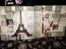 "2 LARGE ART BLOCK PICTURES NEW YORK STATUE LIBERTY PARIS EIFFEL TOWER 27.5"" SQUA"